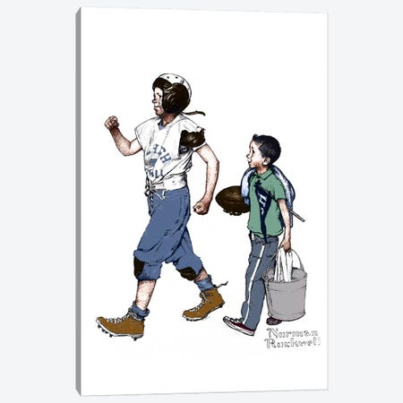 Football Hero Canvas Print #NRL263} by Norman Rockwell Art Print