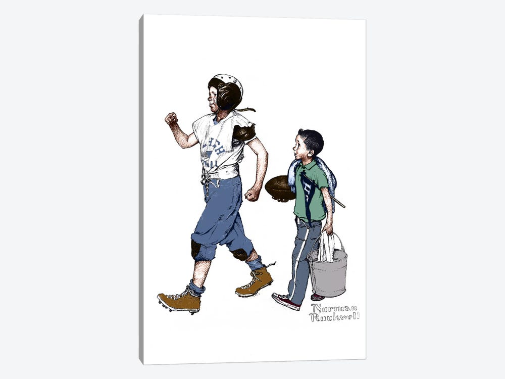 Football Hero by Norman Rockwell 1-piece Canvas Print