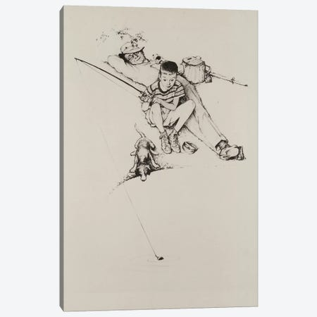 Fishing Grandfather and Boy Canvas Print #NRL265} by Norman Rockwell Canvas Wall Art
