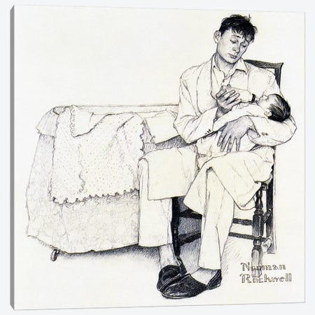 Father Feeding Infant Canvas Print #NRL266} by Norman Rockwell Canvas Art