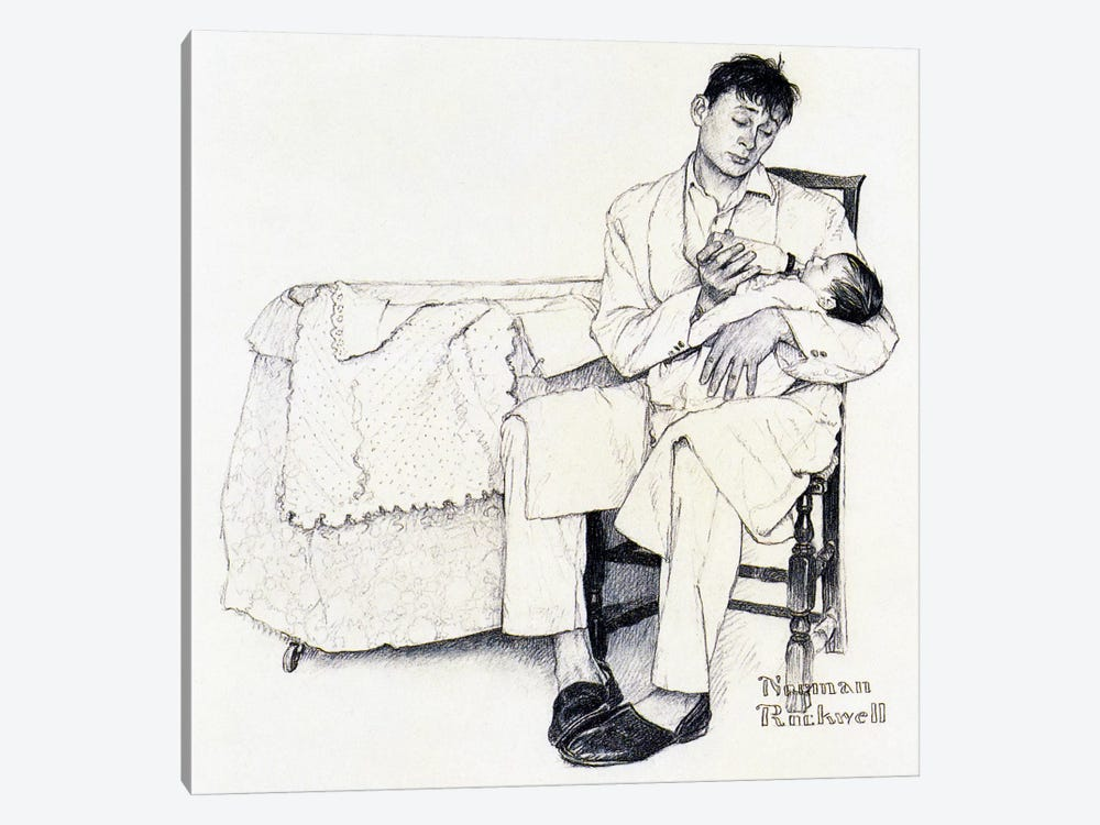 Father Feeding Infant by Norman Rockwell 1-piece Canvas Artwork
