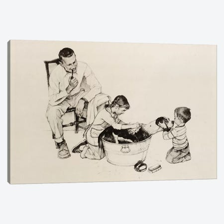 Dog's Bath Canvas Print #NRL267} by Norman Rockwell Canvas Artwork