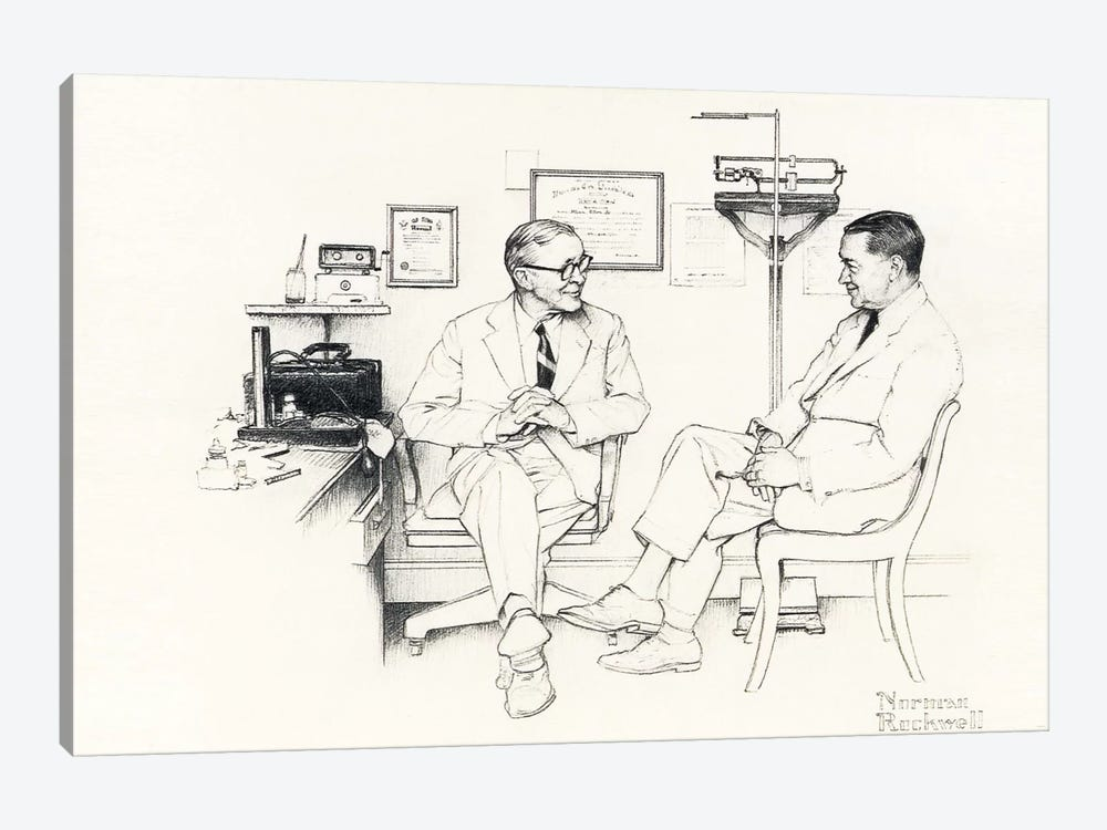 Doctor's Office by Norman Rockwell 1-piece Canvas Art