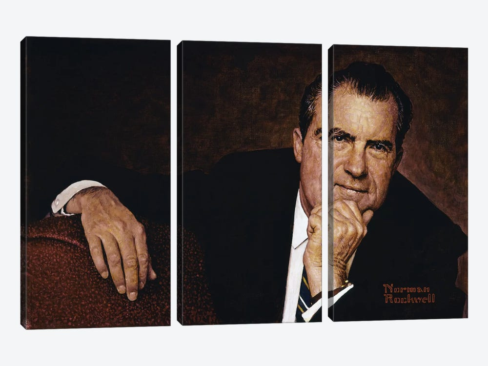 Portrait of Richard M. Nixon by Norman Rockwell 3-piece Art Print