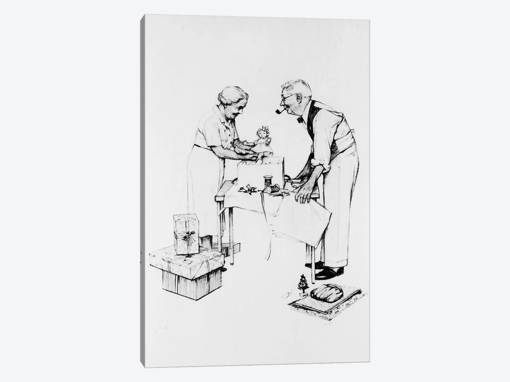 Christmas by Norman Rockwell 1-piece Canvas Art Print