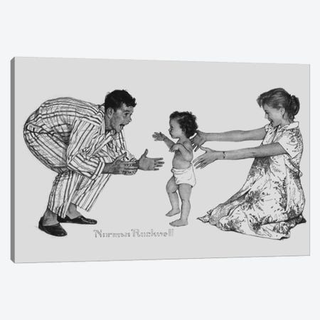 Baby's First Step Canvas Print #NRL271} by Norman Rockwell Canvas Artwork