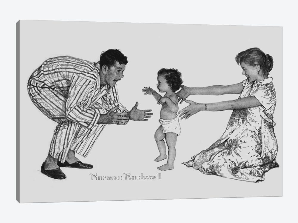Baby's First Step by Norman Rockwell 1-piece Canvas Wall Art