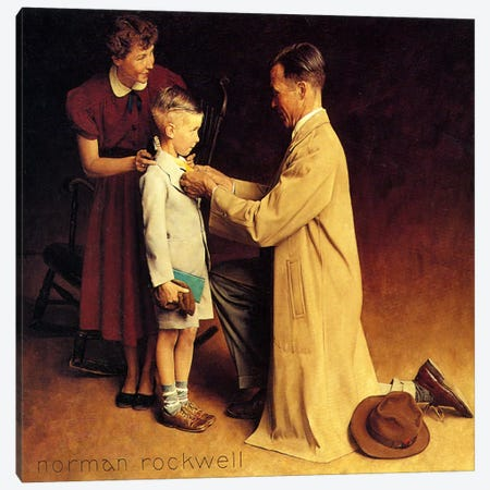 His First Day at School Canvas Print #NRL272} by Norman Rockwell Canvas Art