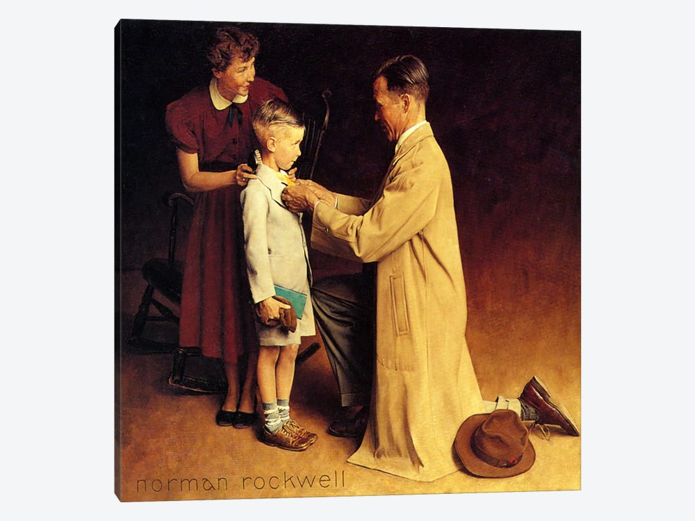 His First Day at School by Norman Rockwell 1-piece Art Print