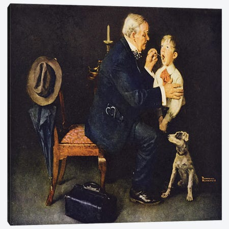 """The Same Advice I Gave Your Dad…Listerine After"" Canvas Print #NRL273} by Norman Rockwell Canvas Artwork"