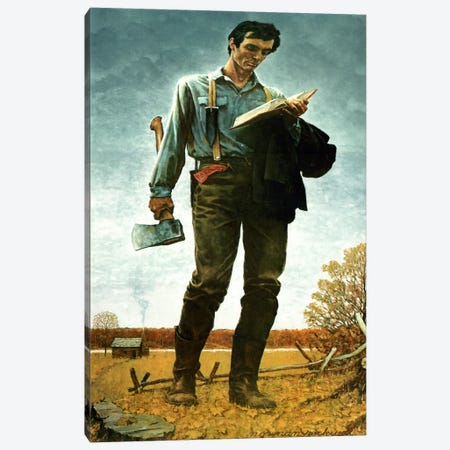 Lincoln the Railsplitter Canvas Print #NRL275} by Norman Rockwell Canvas Art Print