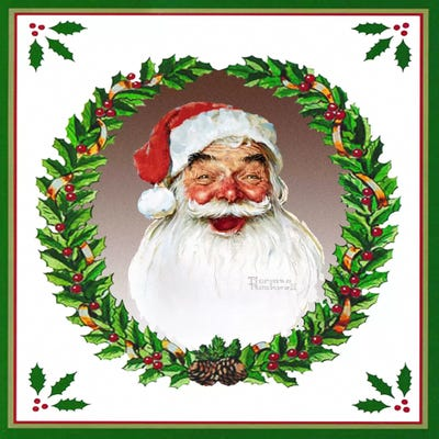Santa Claus with Wreath Art Print