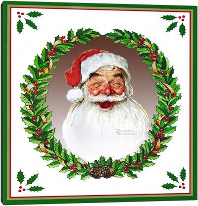 Santa Claus with Wreath Canvas Print #NRL276