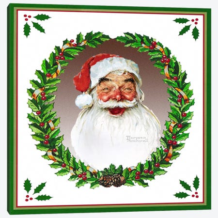 Santa Claus with Wreath Canvas Print #NRL276} by Norman Rockwell Art Print