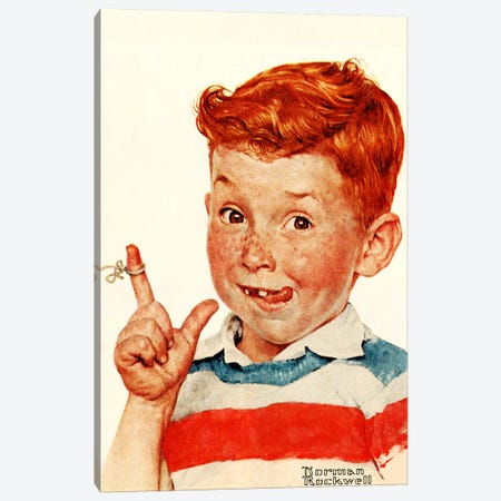 Boy with String Canvas Print #NRL283} by Norman Rockwell Canvas Print