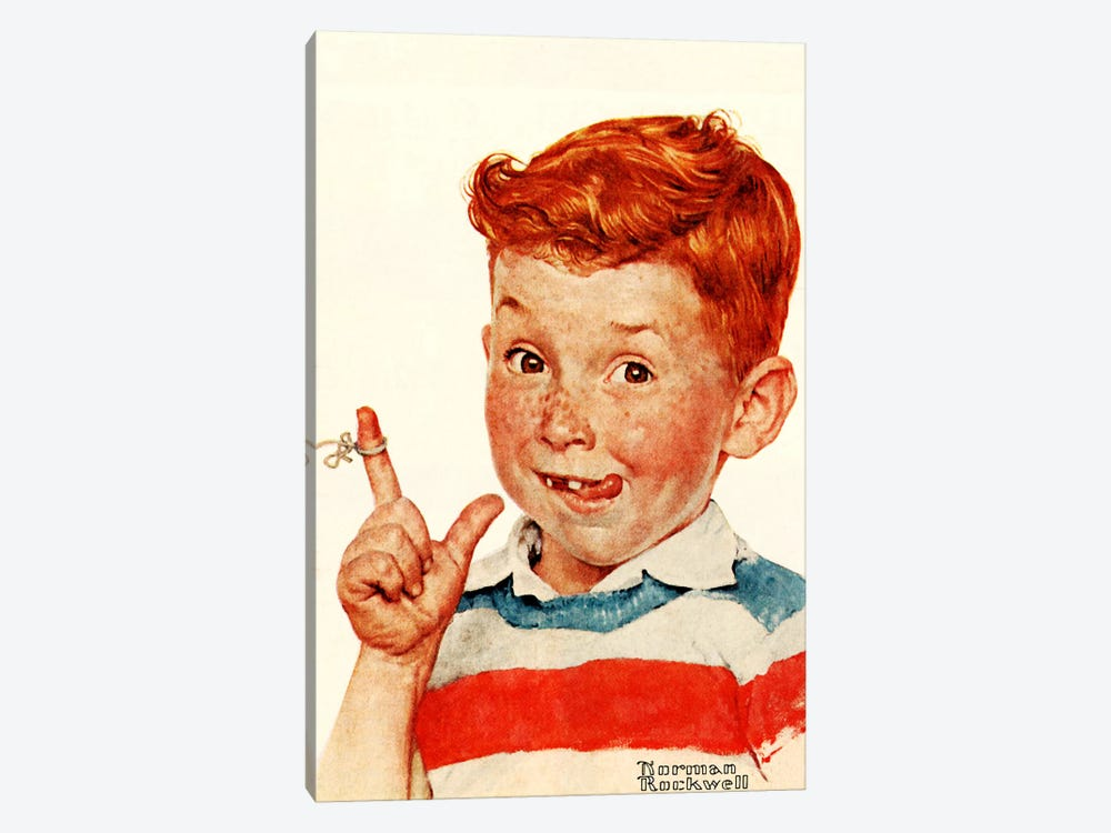 Boy with String by Norman Rockwell 1-piece Canvas Art Print