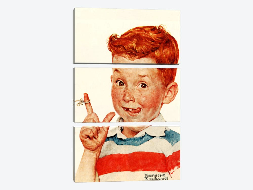 Boy with String by Norman Rockwell 3-piece Canvas Art Print