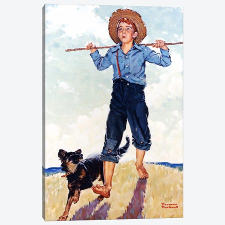 Boy and Dog Canvas Print #NRL288} by Norman Rockwell Art Print