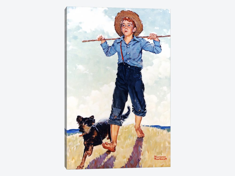 Boy and Dog by Norman Rockwell 1-piece Canvas Art