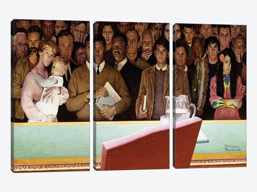 The Right to Know by Norman Rockwell 3-piece Canvas Print