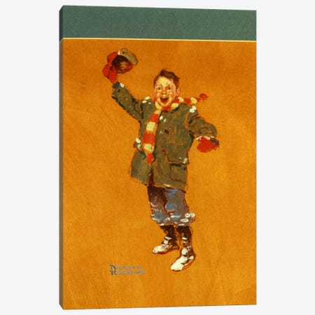 Christmas Studies: Boy in Winter Clothes Waving Canvas Print #NRL290} by Norman Rockwell Canvas Art