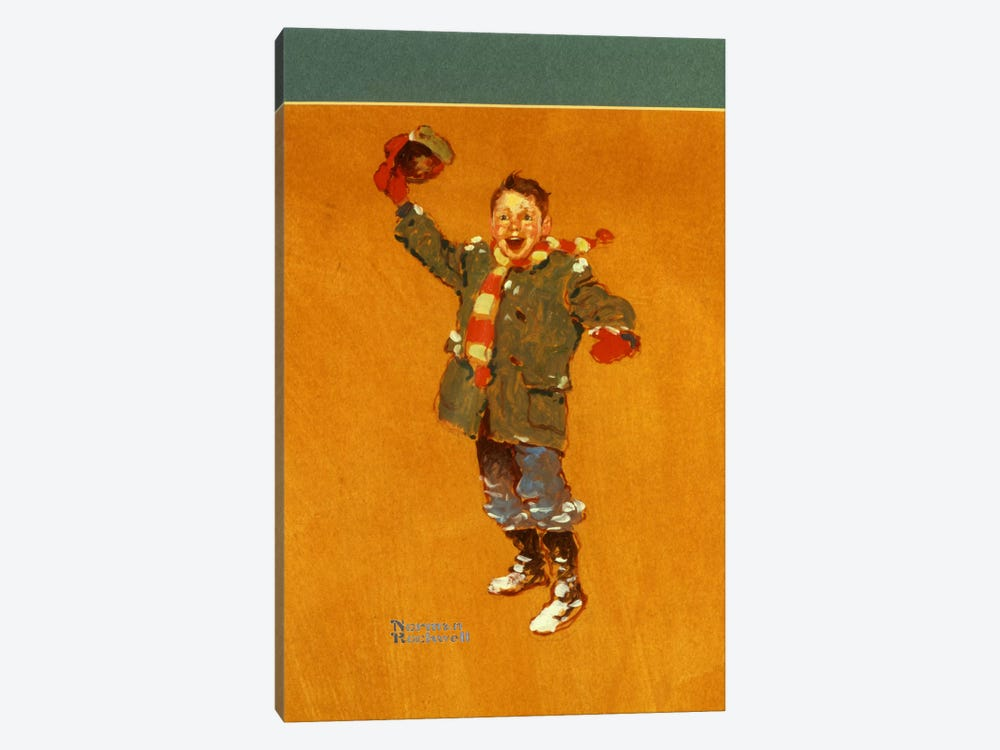 Christmas Studies: Boy in Winter Clothes Waving by Norman Rockwell 1-piece Art Print