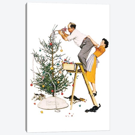 Trimming the Tree Canvas Print #NRL295} by Norman Rockwell Art Print