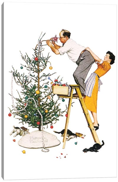 Trimming the Tree Canvas Art Print