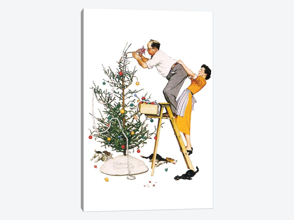 Trimming the Tree by Norman Rockwell 1-piece Canvas Wall Art
