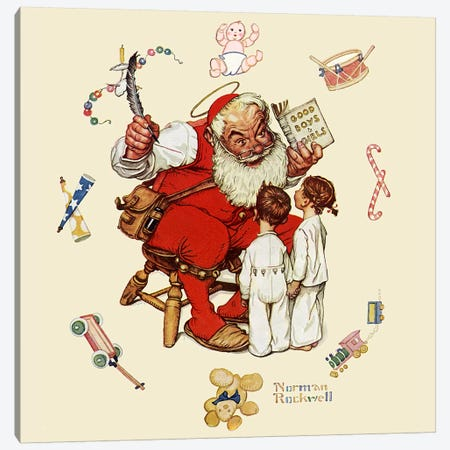 Santa's Visitors Canvas Print #NRL296} by Norman Rockwell Canvas Print