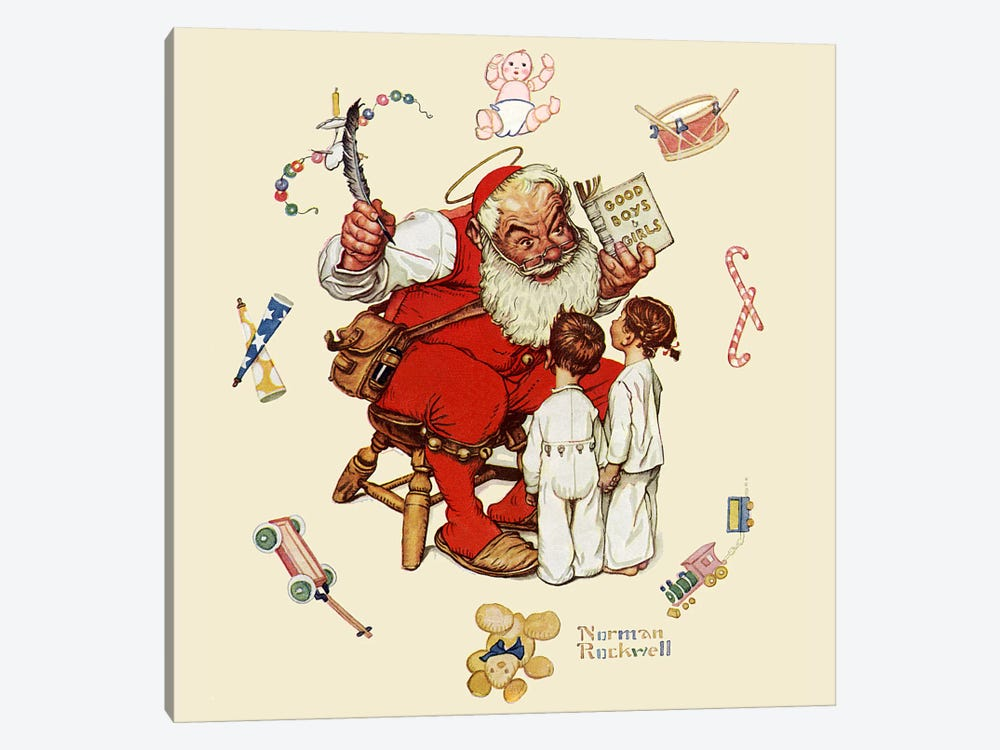 Santa's Visitors by Norman Rockwell 1-piece Art Print