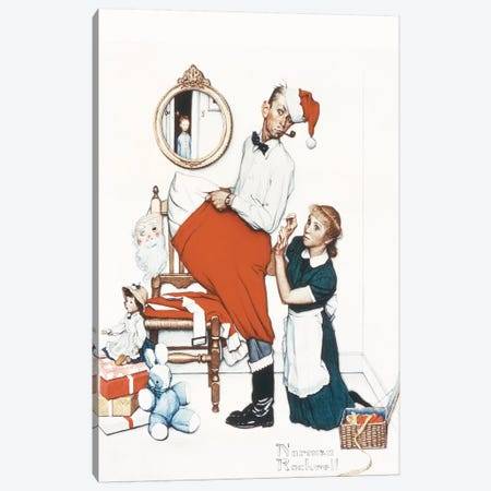 Santa's Surprise Canvas Print #NRL299} by Norman Rockwell Canvas Wall Art