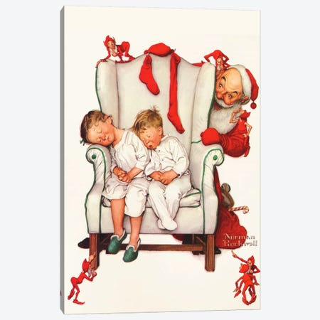 Santa Looking at Two Sleeping Children Canvas Print #NRL300} by Norman Rockwell Canvas Art