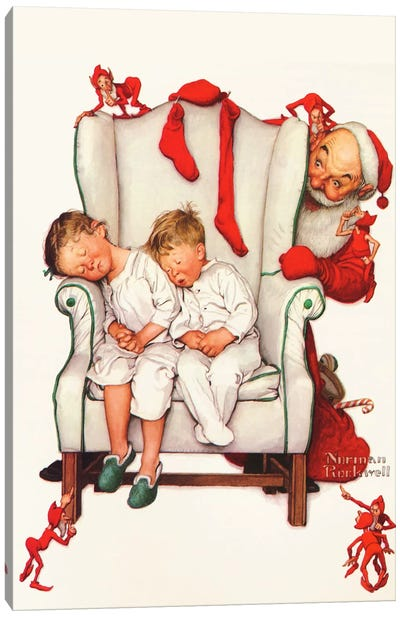 Santa Looking at Two Sleeping Children by Norman Rockwell Canvas Art
