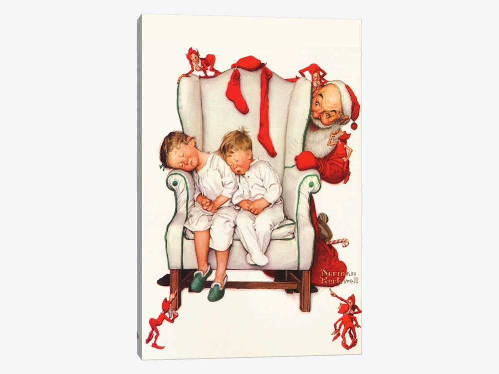 Santa Looking at Two Sleeping Children by Norman Rockwell 1-piece Canvas Print