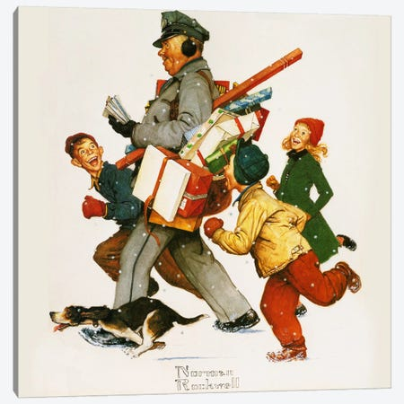 Jolly Postman Canvas Print #NRL301} by Norman Rockwell Canvas Art