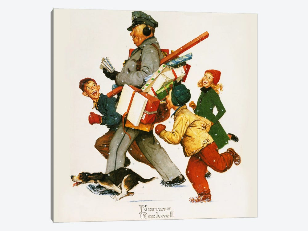 Jolly Postman by Norman Rockwell 1-piece Canvas Art