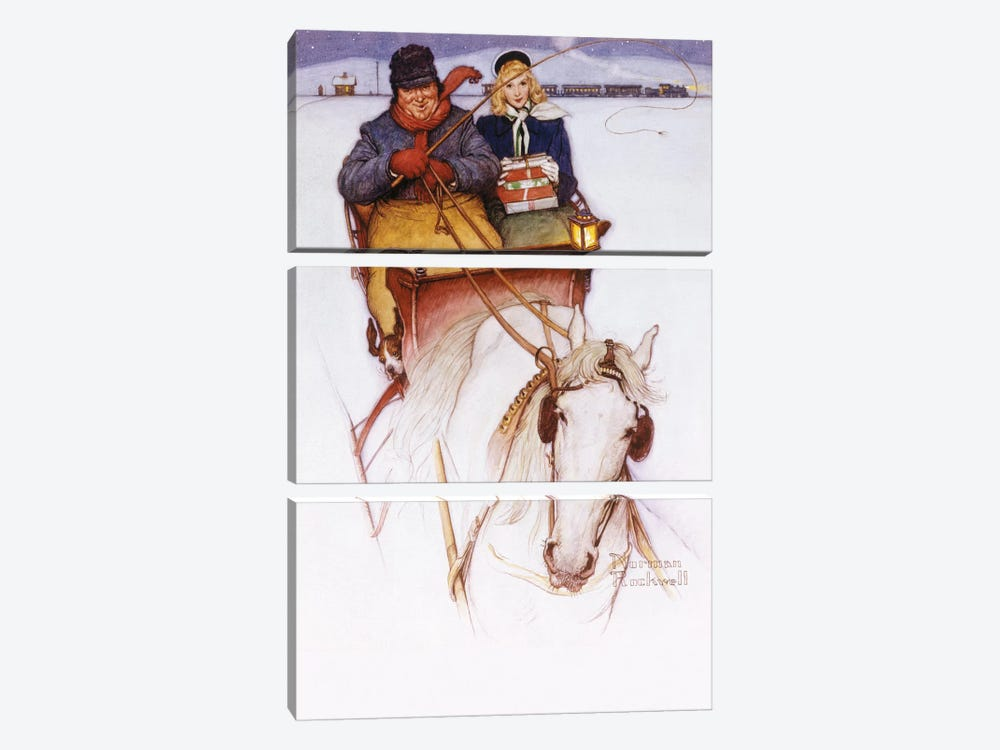 Homecoming by Norman Rockwell 3-piece Canvas Art Print