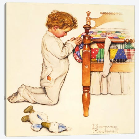 A Christmas Prayer Canvas Print #NRL303} by Norman Rockwell Canvas Artwork