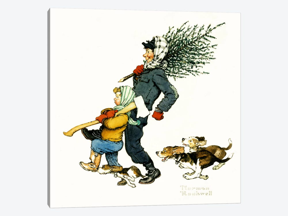 Bringing Home the Tree by Norman Rockwell 1-piece Art Print