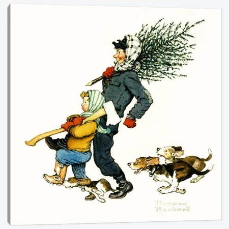 Bringing Home the Tree Canvas Print #NRL306} by Norman Rockwell Canvas Art Print