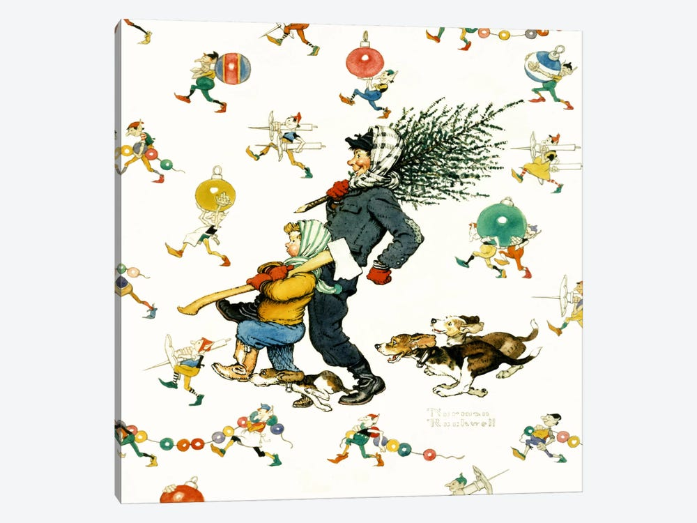 Bringing Home the Tree #2 by Norman Rockwell 1-piece Canvas Wall Art