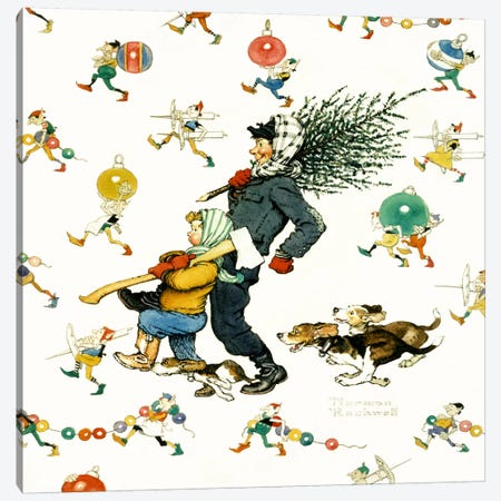 Bringing Home the Tree #2 Canvas Print #NRL307} by Norman Rockwell Canvas Art Print