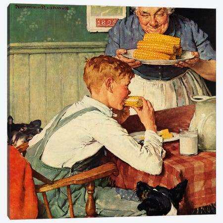 ...And Then Ma, or Grandma Brought 'Em In Canvas Print #NRL309} by Norman Rockwell Canvas Wall Art