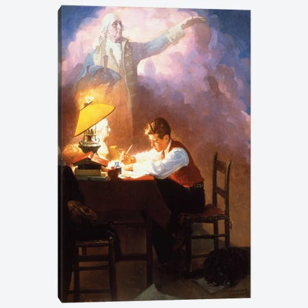 Washington's Bicentennial Birthday Canvas Print #NRL312} by Norman Rockwell Canvas Art Print