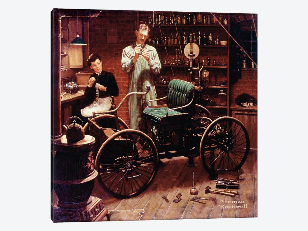 The Revolution that Started in a Shed at Night by Norman Rockwell 1-piece Canvas Artwork