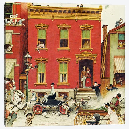 The Street Was Never the Same Again Canvas Print #NRL315} by Norman Rockwell Canvas Artwork
