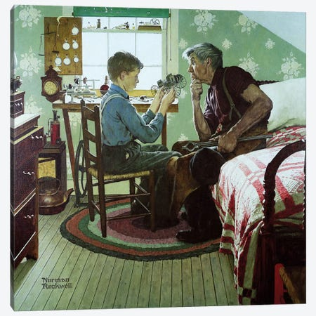 The Boy Who Put the World on Wheels Canvas Print #NRL316} by Norman Rockwell Canvas Wall Art