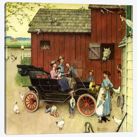 The Farmer Takes a Ride Canvas Print #NRL317} by Norman Rockwell Canvas Wall Art