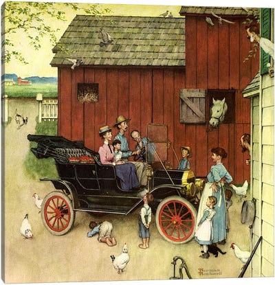 The Farmer Takes a Ride by Norman Rockwell Canvas Wall Art